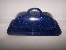 Blue & White Enamel Country Covered Butter Dish Splatter Speckled Enamelware