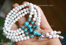 6mm White Agate Bracelet 120 Prayer Beads Mala CONCH Turquoise