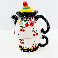 Mary Engelbreit Tea For One Cherries Ceramic Teapot Cup 3 Piece Set 2000 Michel