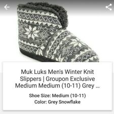 MUK LUKS Mens Slipper Bootie Grey / White Size M 10-11 House Shoes