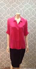 Elizabeth & James Dark Pink Silk & Chiffon 1/2 Sleeve Button Blouse Top L Euc