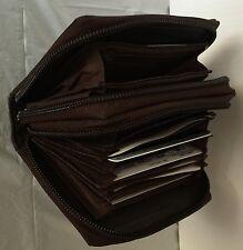 Brand New Accordion style wallet genuine leather Unisex double zip around Brown