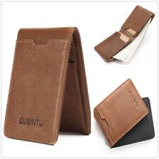 Mini Genuine Leather Slim Wallet RFID Blocking Small Card Holder Front Pocket