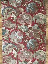 """Antique French c. 1870-80 ethnic Indienne cotton fabric panel (L 116"""" x W 17"""")"""