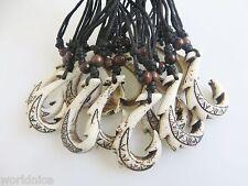 Bulk 12Pcs Ethnic Tribal Yak Bone Resin Carving Maori Fish Hook Pendant Necklace