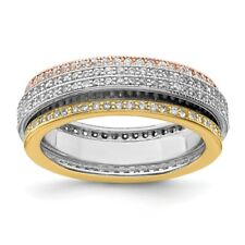 925 Sterling Silver Tri Color Yellow White Gold Eternity Motion Band Ring