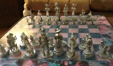 NATIVE AMERICAN 32 PIECE COWBOY signed pewter CHESS SET AND BOARD