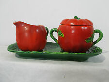 Tomato Creamer and Sugar Set with Tray 3pcs Maruhon Ware Occupied Japan