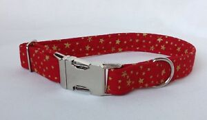 🎄Handmade Red and gold Star Fabric Dog Collar with welded nickel D ring