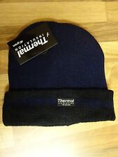 Mens Thermal Winter Warm Black & Blue Ski Hat Cap Beanie New