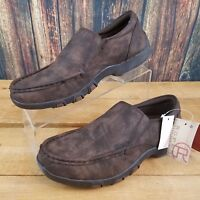 Roper Men's Reese Brown Faux Leather Slip On Driving Moc Shoes Size 7