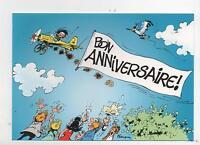 carte postale FRANQUIN. Gaston en avion. Bon Anniversaire. DALIX 1997
