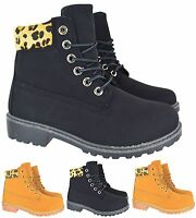 WOMENS LADIES FLAT GRIP SOLE FUR LINED ARMY COMBAT WINTER ANKLE BOOTS SHOES SIZE
