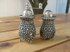 VINTAGE ITALIAN SET SALT & PEPPER MILL SHAKERS  JEWELED AND SILVER PLATED ITALY