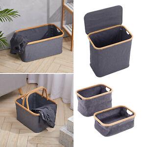 Grey Fabric Laundry Basket with Handles Folding Washing Bin Lidded Toy Organizer