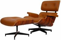 eMod Eames Style Lounge Chair & Ottoman Aniline Leather Light Brown Palisander