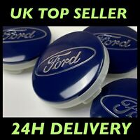 SET of 4 Ford BLUE 54mm Alloy Wheel Centre Caps Focus Mondeo Fiesta Galaxy Kuga