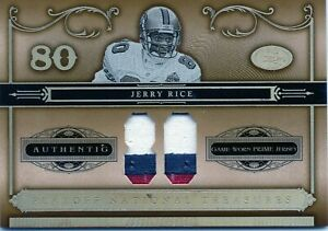 2006 PLAYOFF NATIONAL TREASURES JERRY RICE GAME WORN PRIME JERSEY #D /80 49ERS