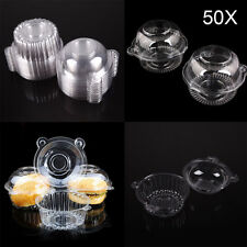 50 Clear Plastic Individual Single Cupcake Muffin Case Pods Domes Cup Cake Boxes