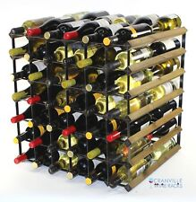 Double depth 60 bottle dark oak stained wood and metal wine rack ready to use
