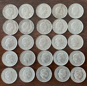 Lot of 25 coins, 10 rappen face value each,1934-1980  !