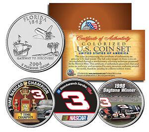 "DALE EARNHARDT ""7X NASCAR CHAMPION/1998 DAYTONA 500"" FLORIDA QUARTER 3 COIN SET!"