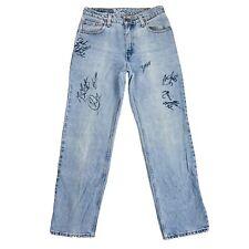 Vintage Levi's 555 Women Blue Regular Straight Fit Autographed Jeans S / W28 L32