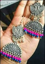 India Traditional Silver Oxidized Bollywood Fashion Jewelry Earrings