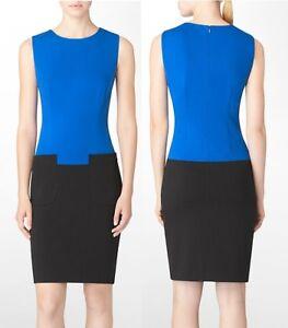 Calvin Klein M31BX991 Celestial Blue/Black Colorblock Stretch Knit Dress, 8R