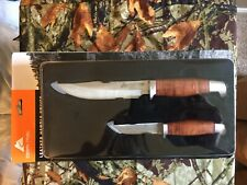Ozark Trail 2 Knife Set Leather Wrapped Handles Leather Sheathes Fathers Day