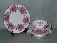 Vintage Gladstone Bone China Trio Tea Cup Saucer & Side Plate Rose & Violets