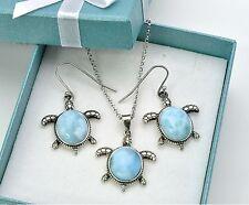 Genuine Larimar Sea Turtle Pendent Necklace/Earrings Set, .925 Sterling Silver