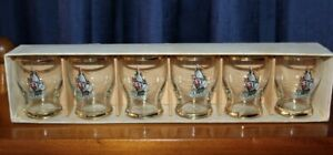 Vintage Boxed Set Of Six Dema Shot Glasses With Clipper Sailing Ship Theme
