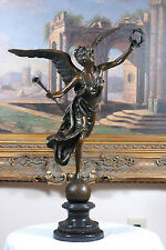 """SIGNED: Pierre Biard, BRONZE """"WINGED VICTORY"""" Winged Angel Nike Victory Goddess"""