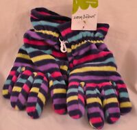 girls Jumping Beans goves size large colorful stripes soft fleece msrp $14