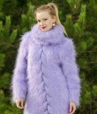 Purple mohair sweater dress turtleneck fuzzy hand knit fluffy tunic SUPERTANYA