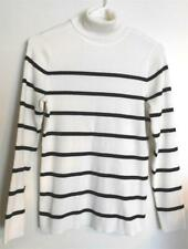 Chico's L/Sleeve Turtleneck Sweater~size 1P~White & Black Stripe~EUC