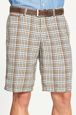 TOMMY BAHAMA COPOLLA CHECK FLAT FRONT LINEN BLEND SHORTS MILITARY MENS SIZE 30
