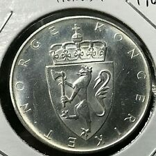 1964 NORWAY SILVER 10 KRONOR BRILLIANT UNCIRCULATED CROWN COIN