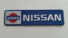 MOTOR RACING CAR SPEED FESTIVAL SEW ON / IRON ON PATCH:- NISSAN (d) BLUE STRIPE