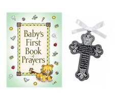 Baby Guardian Angel Crib Cross & 1st Book of Prayers Christening Baptism Gift