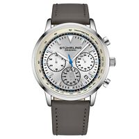 Stuhrling 44 mm Muscle Movement Chronograph 9.5 mm Leather Strap Men's Watch