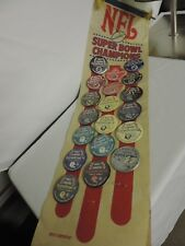 Vintage Super Bowl Champions NFL Felt Banner WITH Buttons Patriots 49ers STEELER