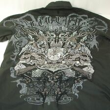 Roar Legends Never Die Long Sleeve Button Front Embroidered Charcoal Shirt M