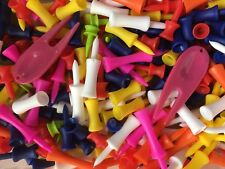 180 Mixed Plastic Castle Golf Tees Pack Orange Pink White Yellow Blue Red Lime