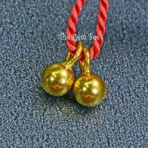 3.3mmx6.2mm 18k Solid Yellow Gold Ball Charm Finding PAIR (2)