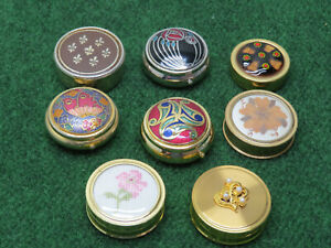 Assorted PILL / TRINKET BOXES Lot Of 8 Small Round Decorative Boxes