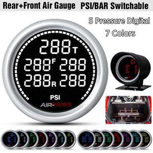 7 Colors 2'' 52mm Air Suspension Pressure Gauge Bar PSI Air Ride Meter + Sensor