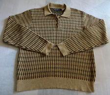 Med. Babe Didrikson L/S Silk,Cashmere,Wool Polo Sweater,Tan w/Black & Burgundy