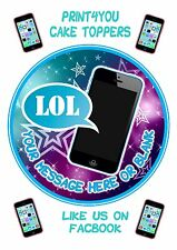 ND1 Teen Teenager mobile Boys blue iphone  personalised round cake topper icing